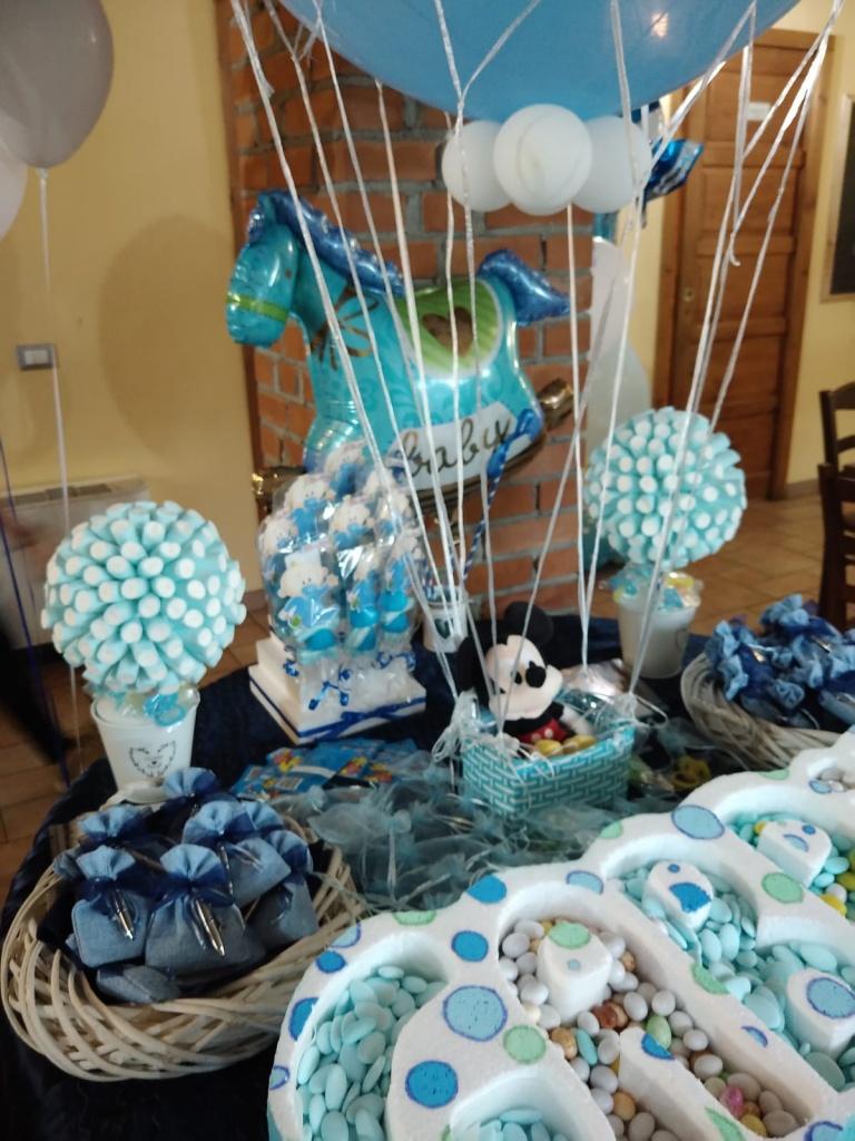 Composizione palloncini battesimo bimba e bimbo